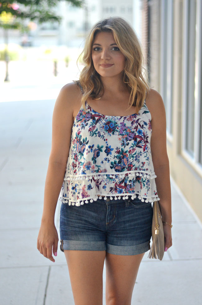 cute summer outfit - rolled denim shorts with pom pom tank top | www.fizzandfrosting.com
