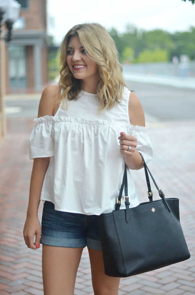 white cold shoulder top with denim shorts   www.fizzandfrosting.com