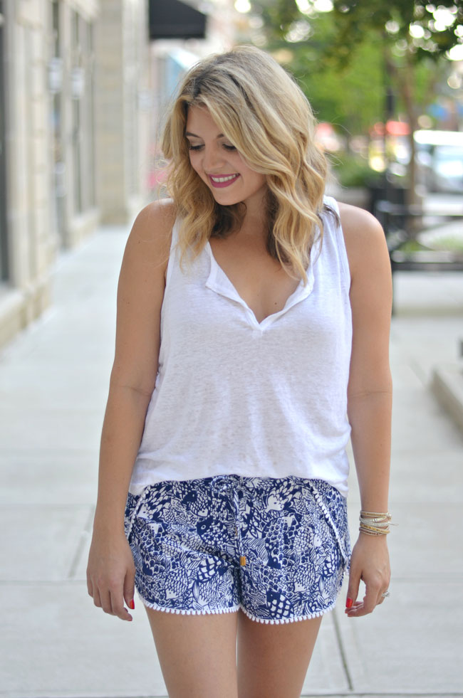 casual summer outfit - printed soft shorts with tank top | www.fizzandfrosting.com