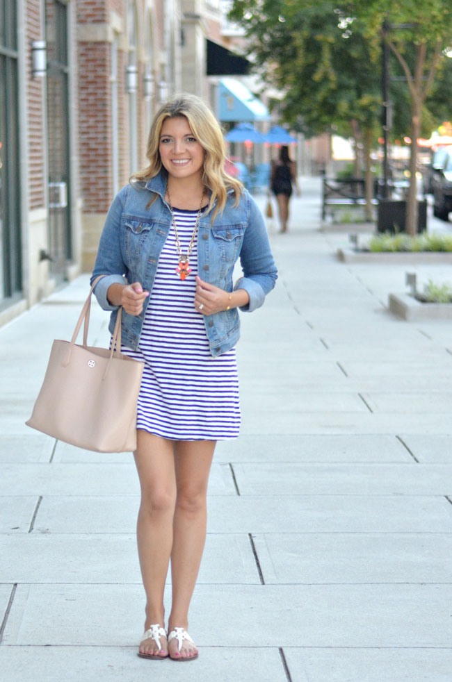 casual summer outfit - striped tshirt dress with denim jacket   www.fizzandfrosting.com