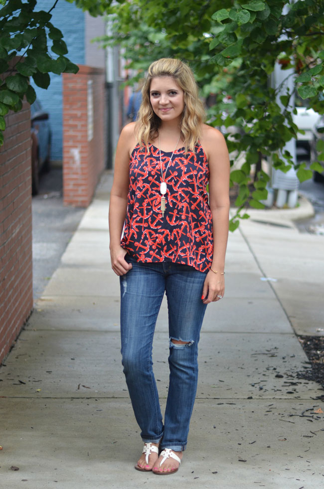 nautical summer outfit - anchor print tank, distressed jeans | www.fizzandfrosting.com