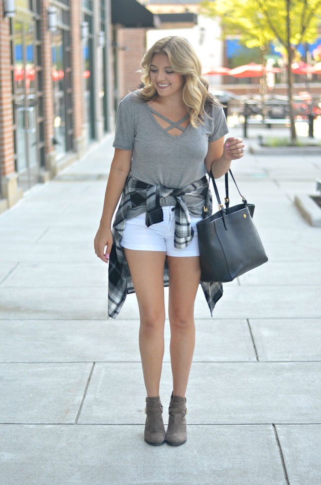 fall clothes for summer - plaid top with white shorts and booties | www.fizzandfrosting.com
