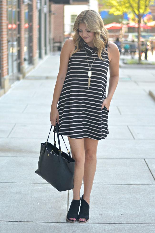 what to wear on warm fall days - cowl neck swing dress | www.fizzandfrosting.com