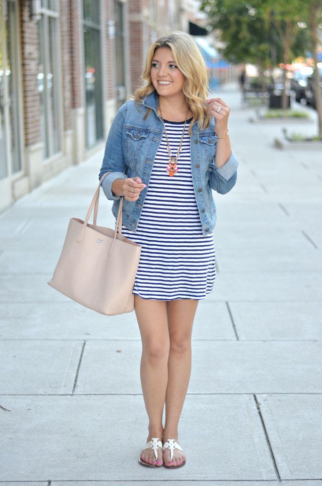 summer style - J.Crew striped dress, denim jacket, tory burch tote   www.fizzandfrosting.com