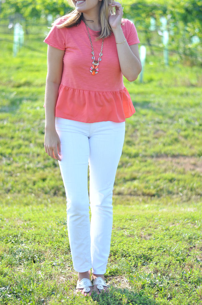 white denim for summer with coral peplum top | www.fizzandfrosting.com