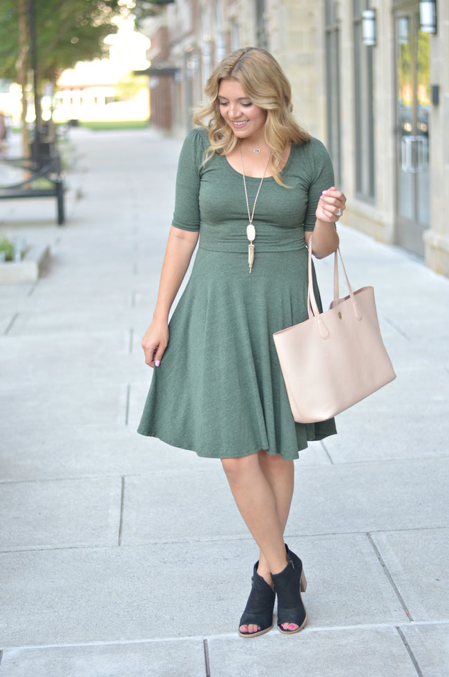 Julia dress for Fall - lularoe nicole dress with peep toe booties | www.fizzandfrosting.com
