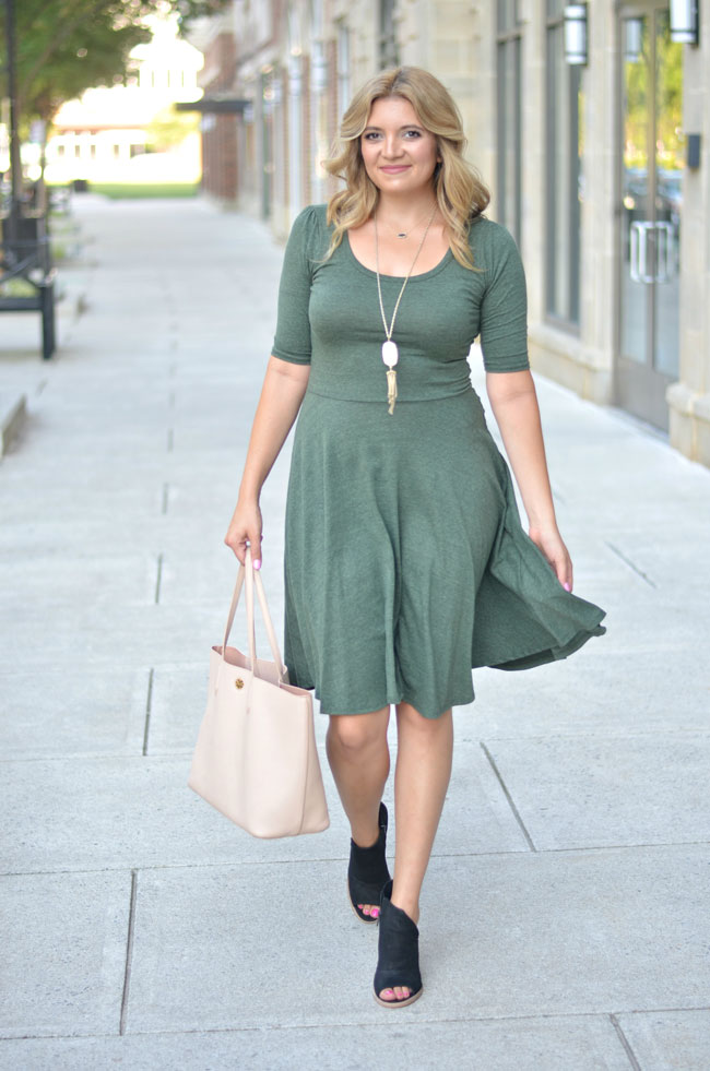 Lularoe fall outfits - nicole dress with booties | www.fizzandfrosting.com