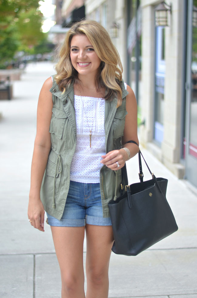 summer into fall outfits - cargo vest with lace top and shorts | www.fizzandfrosting.com