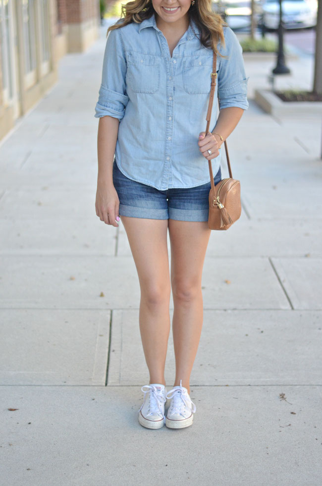 chambray button down with denim shorts | www.fizzandfrosting.com