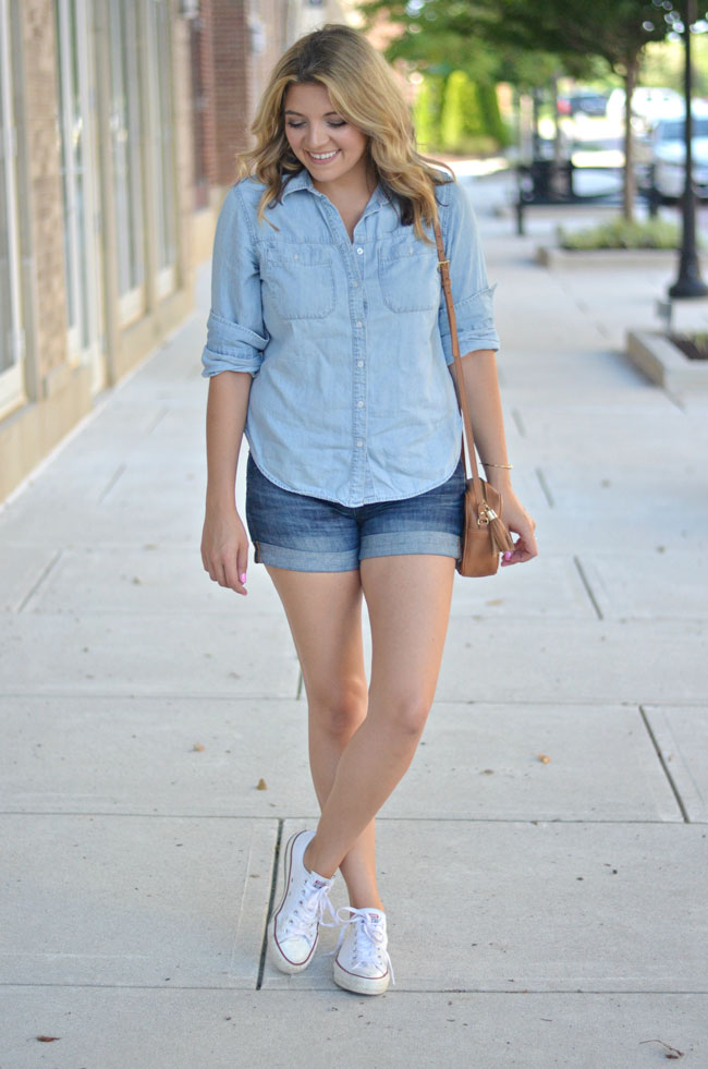 summer casual outfit - chambray button down, denim shorts, converse | www.fizzandfrosting.com