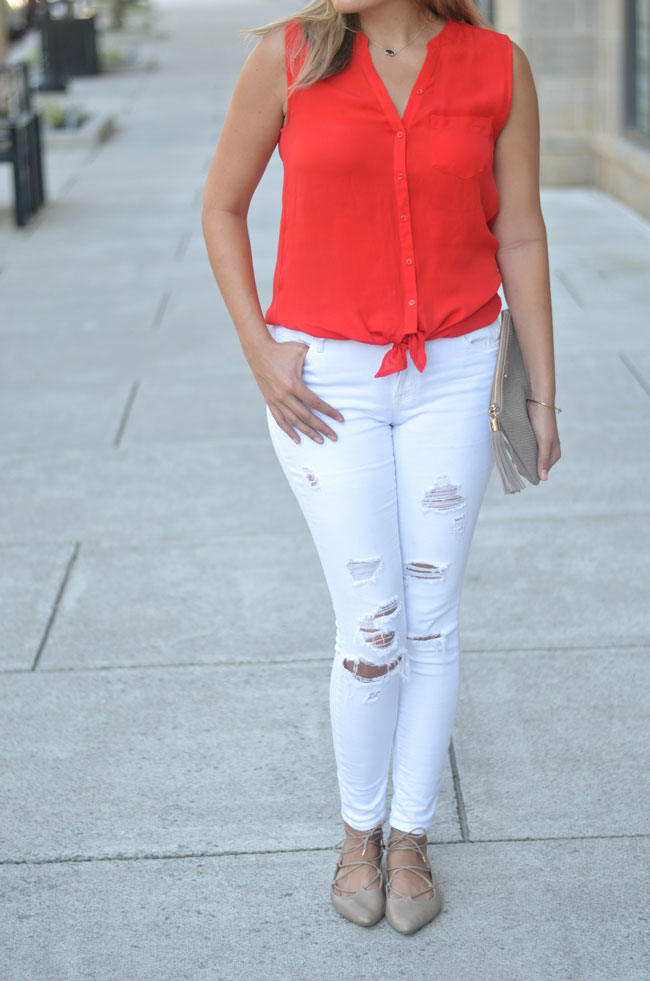 ripped white jeans, tie front blouse, nude lace-up flats | www.fizzandfrosting.com