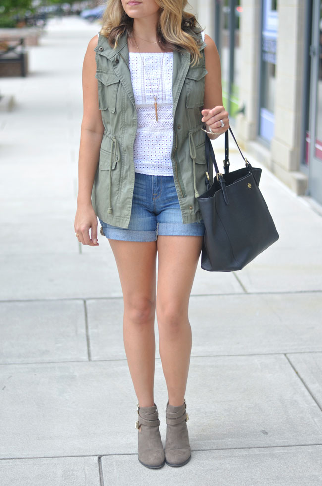 cargo vest for warm weather - lace top and shorts with booties | www.fizzandfrosting.com