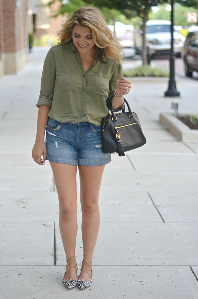transition to fall outfit - army green button down, distressed denim shorts with animal print lace up flats | www.fizzandfrosting.com