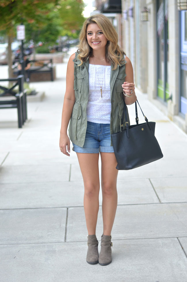 warm weather fall outfit - cargo vest with shorts and booties | www.fizzandfrosting.com