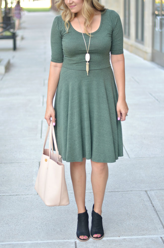 Lularoe Nicole dress styled for fall | www.fizzandfrosting.com