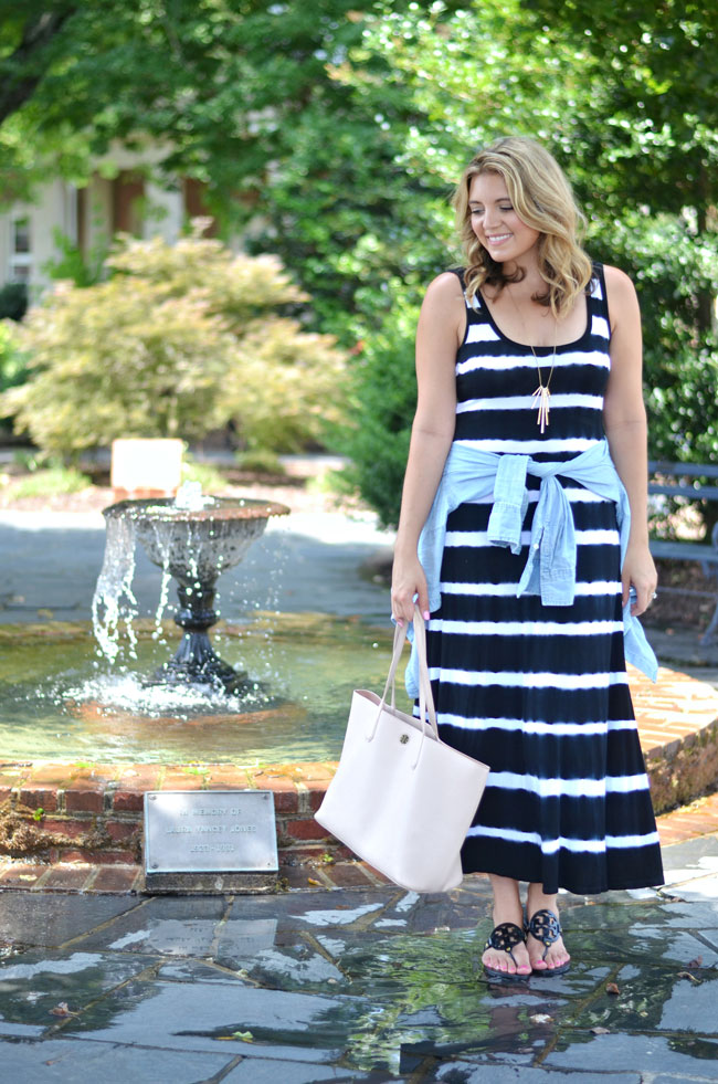 striped tank maxi dress with tied chambray top | www.fizzandfrosting.com