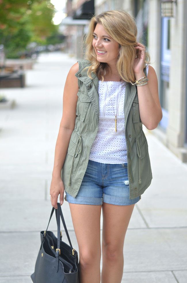 cargo vest with lace top and distressed jeans | www.fizzandfrosting.com