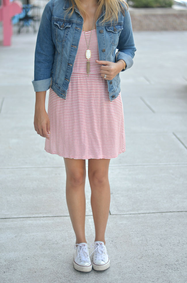 cute casual outfit - red stripe tshirt dress with converse | www.fizzandfrosting.com