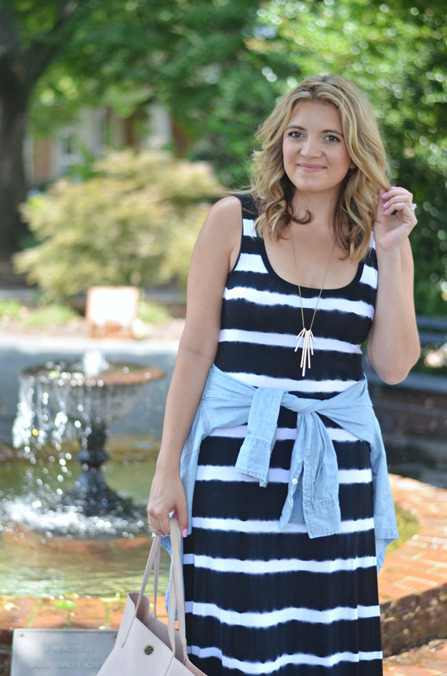 striped tank maxi dress with chambray top | www.fizzandfrosting.com