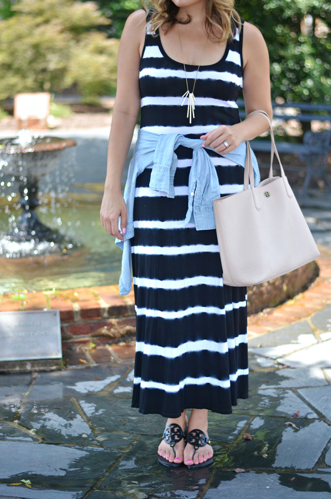 striped maxi dress for summer with chambray and tory burch sandals | www.fizzandfrosting.com