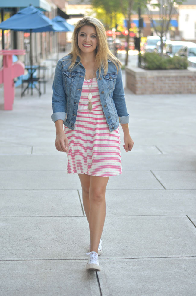 cute casual summer outfit - striped red dress with denim jacket and converse | www.fizzandfrosting.com