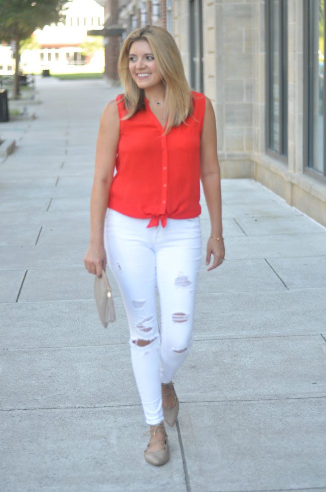 tie front top, white torn jeans, nude lace-up flats | www.fizzandfrosting.com
