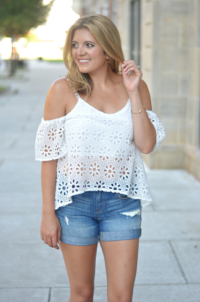 how to wear off shoulder top for summer - white lace off shoulder top with distressed denim shorts | www.fizzandfrosting.com