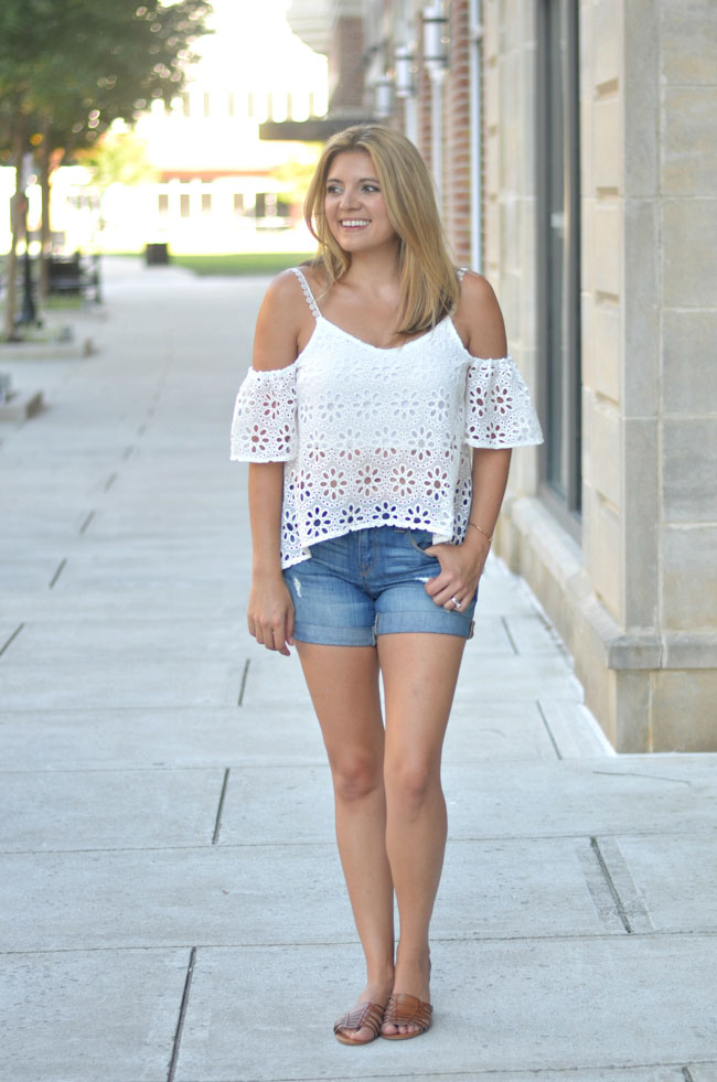 casual summer style - white cold shoulder lace top, distressed denim shorts | www.fizzandfrosting.com