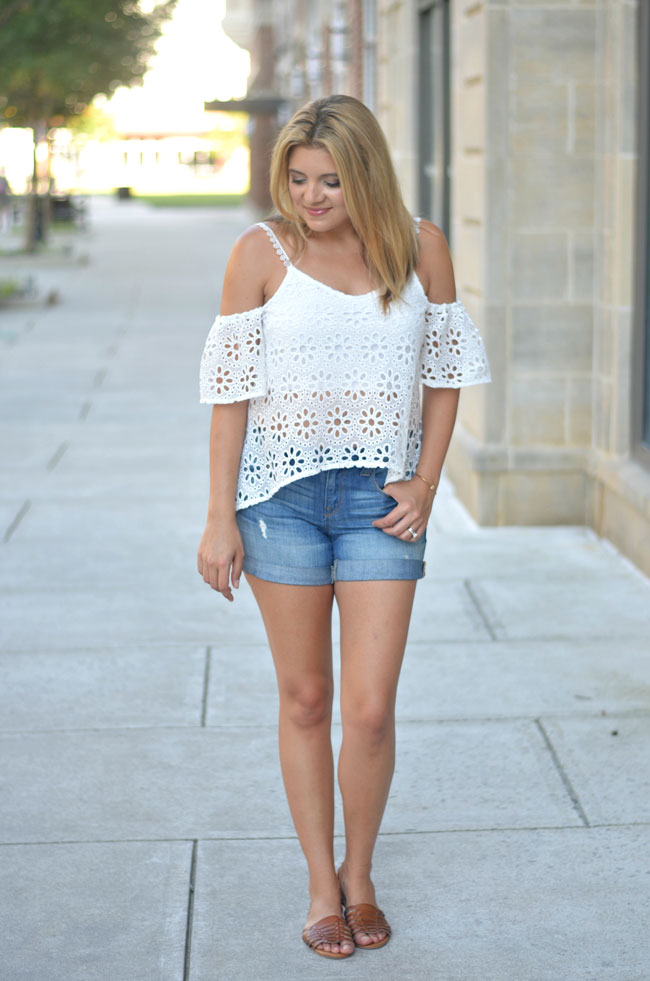 summer style - white lace off shoulder top, distressed denim shorts, huarache sandals | www.fizzandfrosting.com