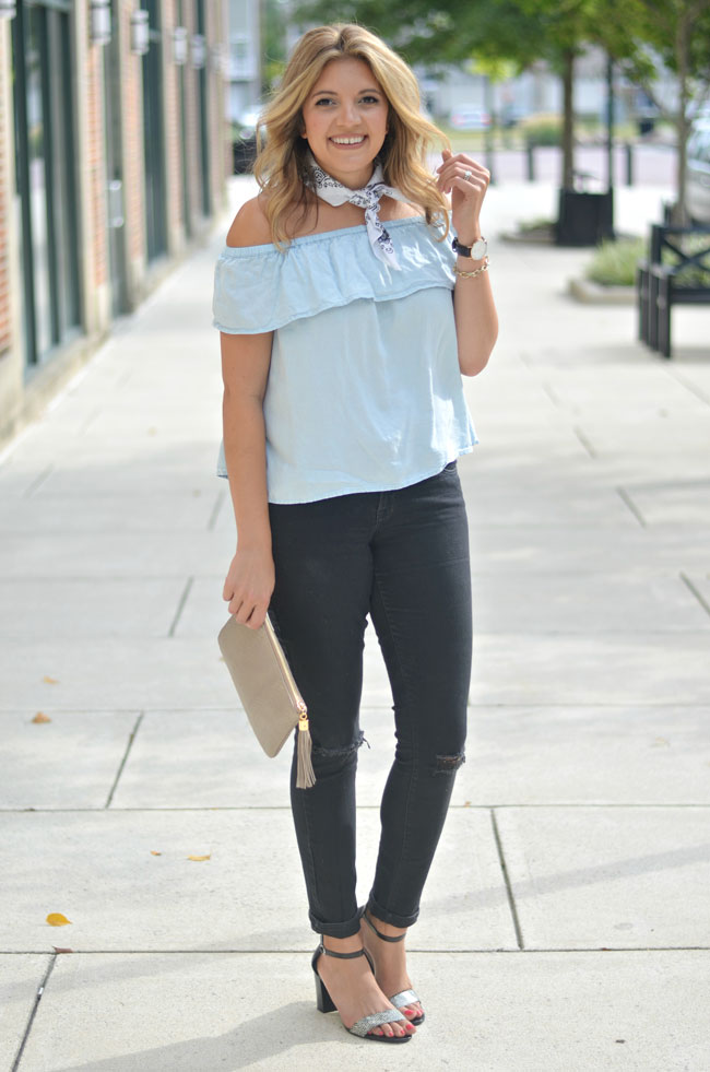 chambray and black denim for fall   www.fizzandfrosting.com