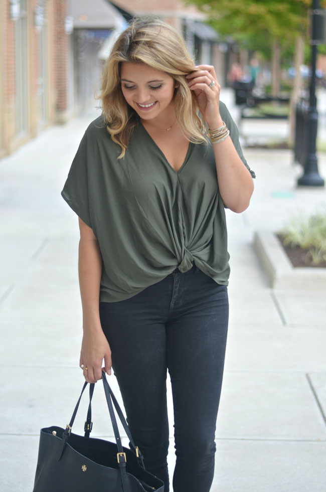 olive for fall - twist front top with black jeans | www.fizzandfrosting.com