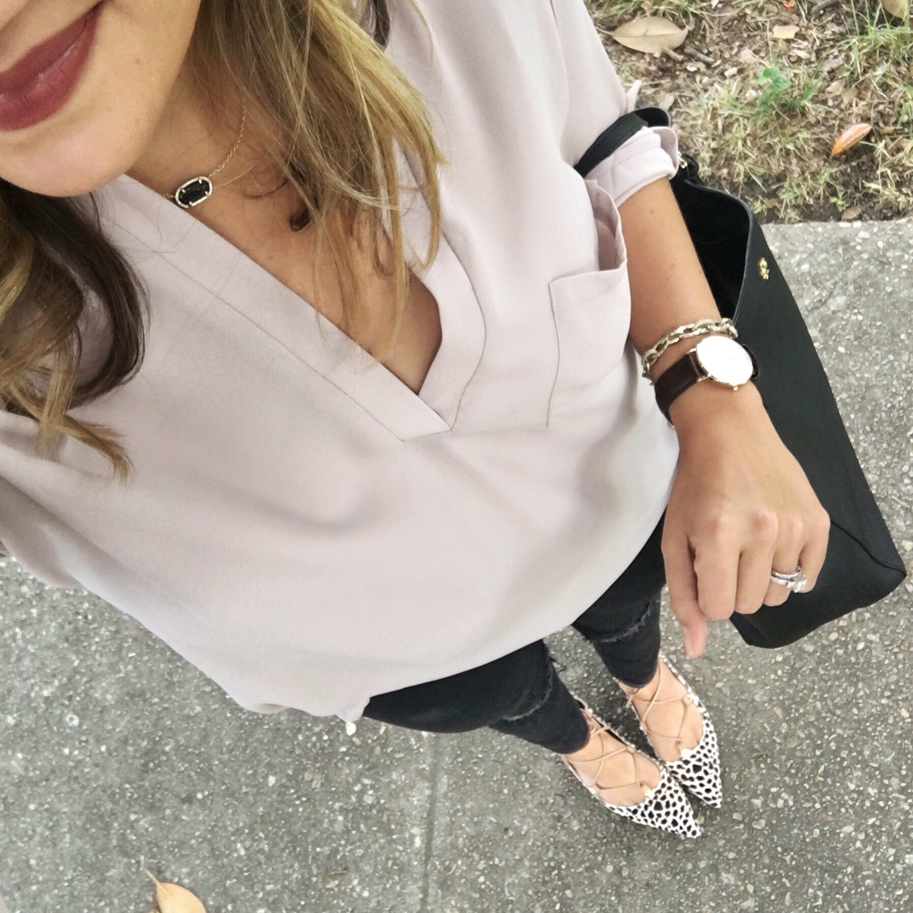 Classic Fall outfit - blush tunic and black jeans