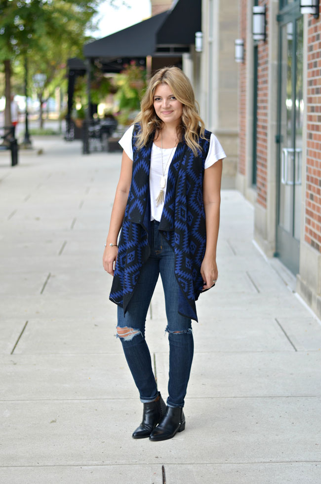 how wear long draped vest for fall | www.fizzandfrosting.com