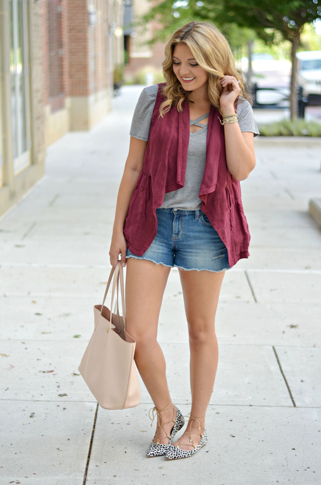 shorts for fall - shorts with draped vest with animal print lace-up flats | www.fizzandfrosting.com