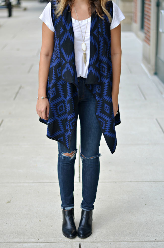 how wear a draped vest - long sweater vest with distressed skinny jeans and black ankle boots | www.fizzandfrosting.com