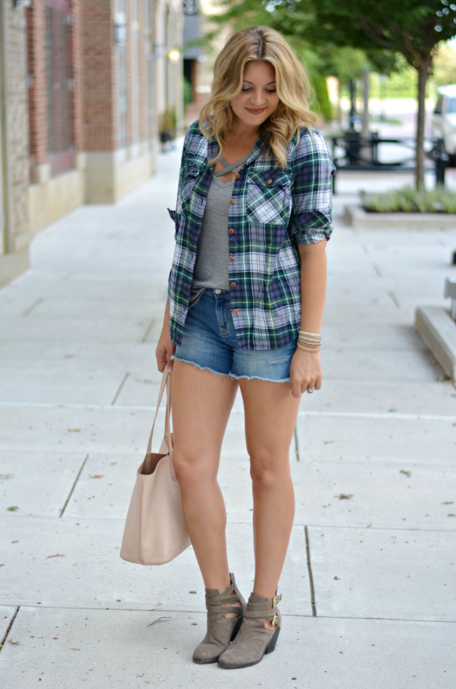 early Fall style - plaid top with shorts and booties | www.fizzandfrosting.com