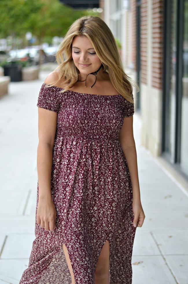 Fall off shoulder maxi dress | www.fizzandfrosting.com