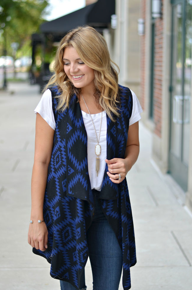 fall outfit - aztec print knit vest for fall | www.fizzandfrosting.com
