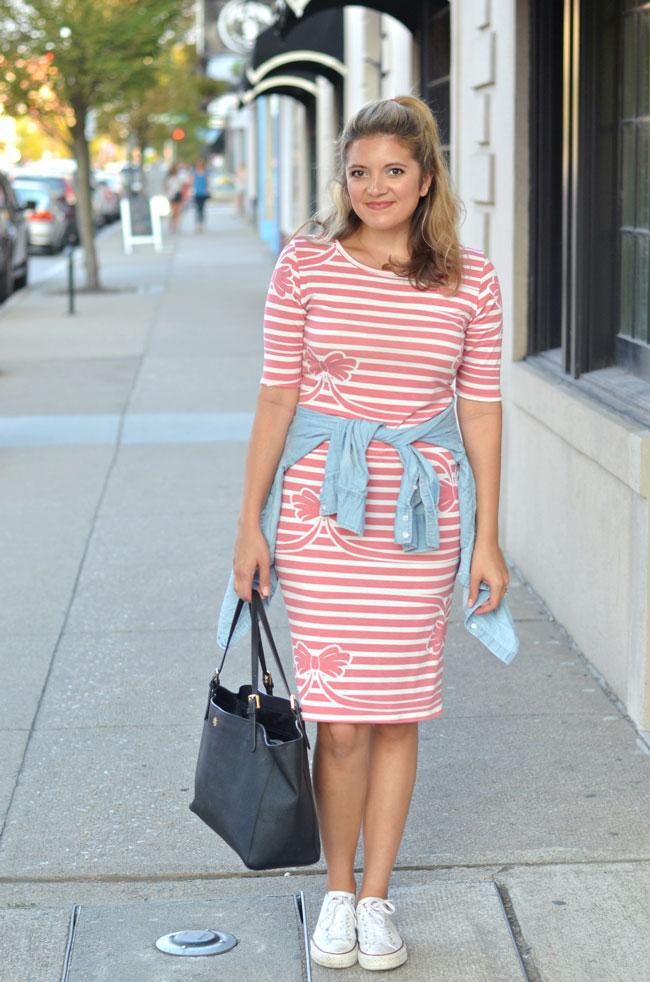 9230c5e0e4af Striped LuLaRoe Julia dress with chambray shirt tied