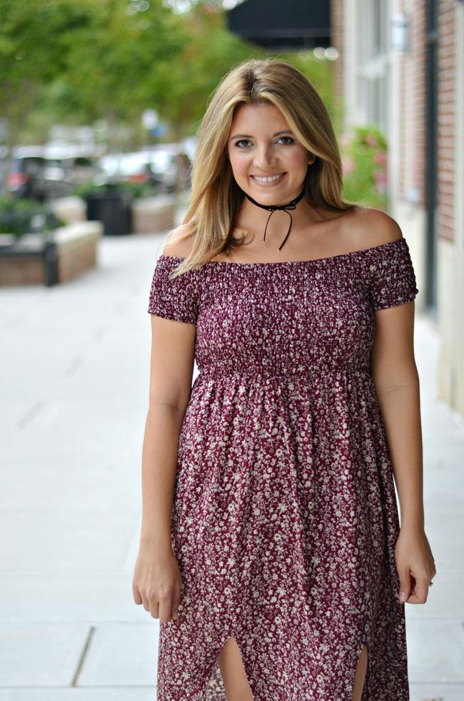 Fall style - off shoulder maxi dress | www.fizzandfrosting.com