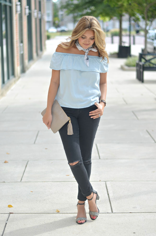 fall off the shoulder outfit - chambray off the shoulder with black jeans and bandana neck scarf   www.fizzandfrosting.com