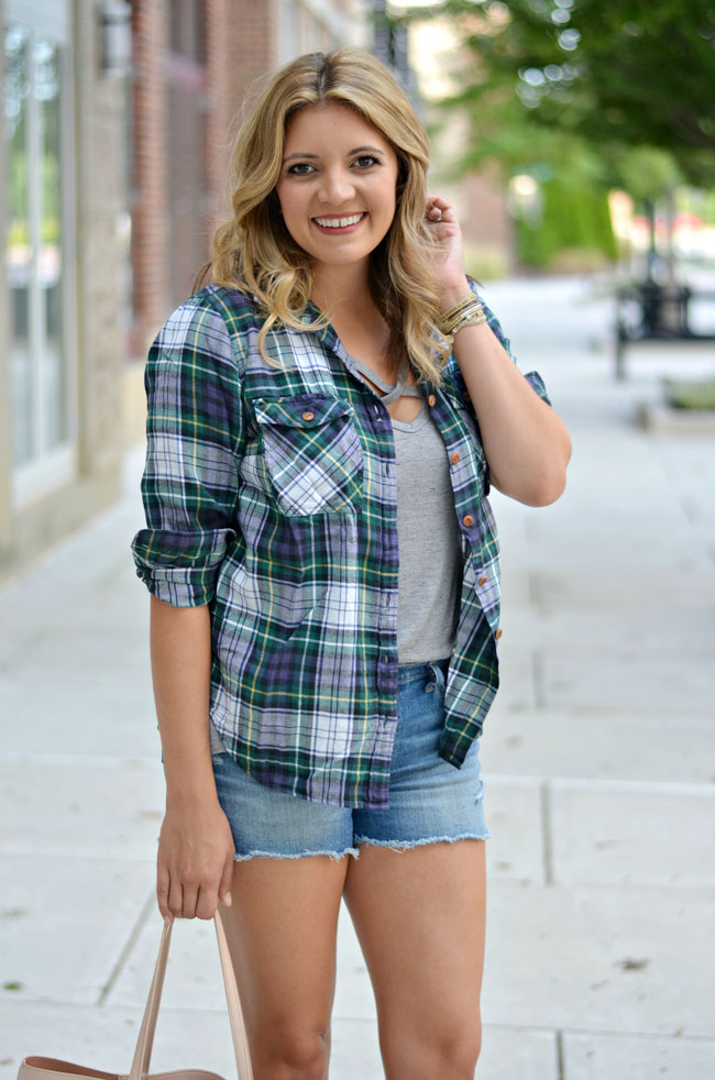 criss-cross tee with plaid and shorts | www.fizzandfrosting.com