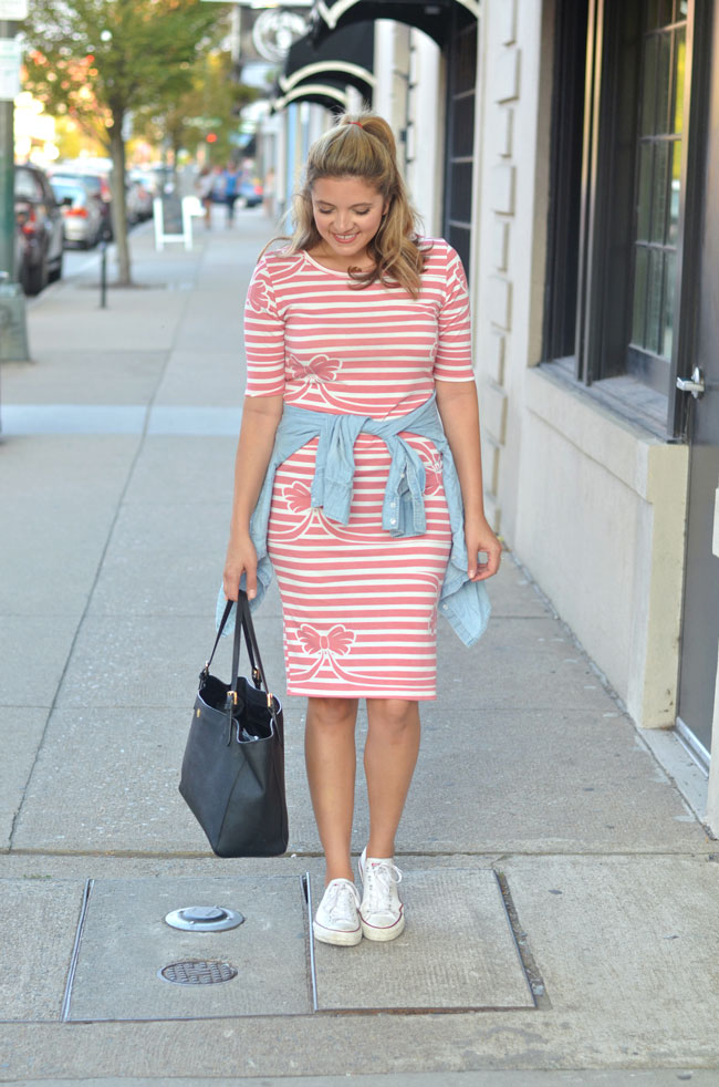 tshirt dress with converse and chambray at waist | www.fizzandfrosting.com