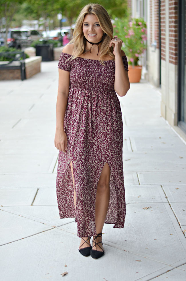 off the shoulder maxi dress for Fall | www.fizzandfrosting.com