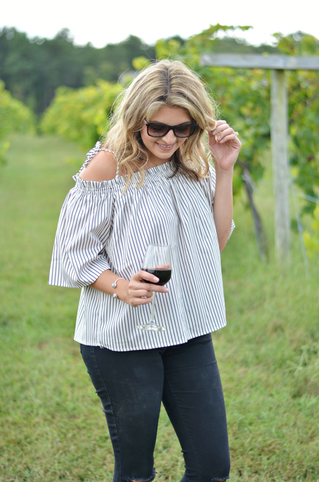 stripe off shoulder top with ties | www.fizzandfrosting.com