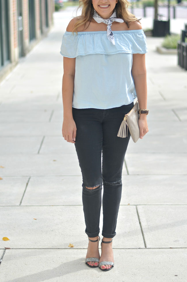 off-the-shoulder fall outfit - chambray off the shoulder, bandana neck scarf, black jeans   www.fizzandfrosting.com