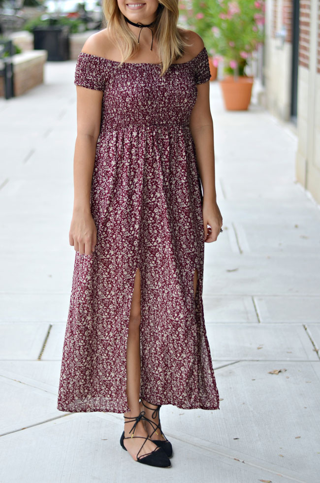 How to wear an off shoulder maxi dress for fall | www.fizzandfrosting.com
