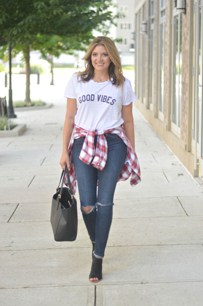 perfect Fall outfit - distressed skinny jeans, peep toe booties, red plaid top | www.fizzandfrosting.com