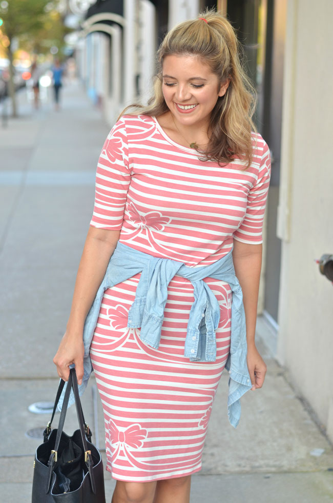 how style a tshirt dress casually - denim shirt with a dress | www.fizzandfrosting.com