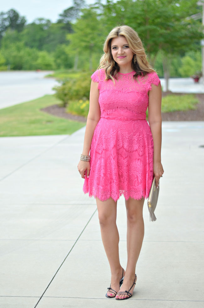 what to wear to a summer wedding - pink lace dress | www.fizzandfrosting.com